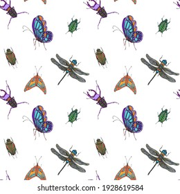 Colorful insects spring seamless pattern.