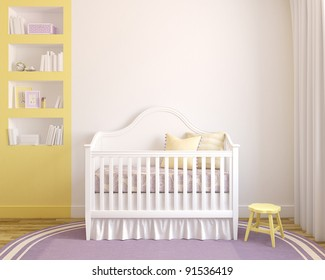 Colorful interior of nursery. Frontal view. 3d render. Pictures in frames was painted in photoshop by me.