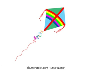 colorful isolated kite with ribbons
