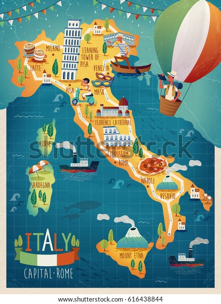 Colorful Italy Travel Map Attraction Symbols Arkistokuvitus 616438844