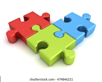 Colorful jigsaw puzzle pieces concept isolated on white background with shadow. 3D rendering.