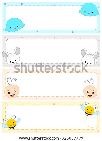 Colorful Kids Name Tag Frames Cute Stock Illustration 325057799 ...