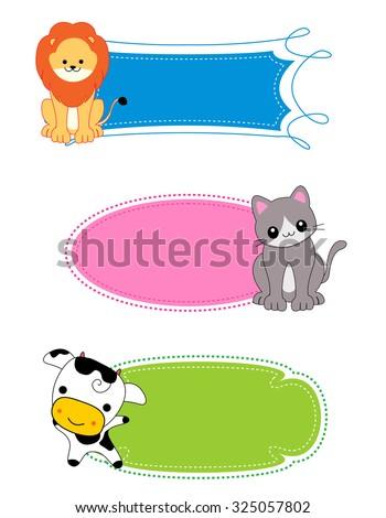 colorful kids name tags labels frame stock illustration 325057802