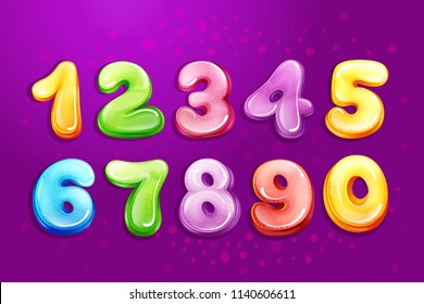 colorful kids numbers, children font template. Preschool, kindergarten mathematics, game typography design glossy bubble style. Illustration cute education cartoon objects set purple background