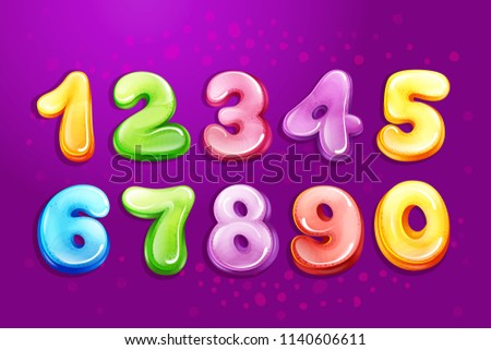 Colorful Kids Numbers Children Font Template Stock Illustration