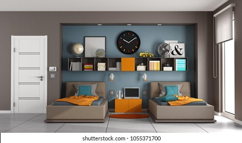 Colorful kids room with two singles bed aand bookcase - 3d rendering