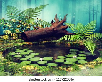 Colorful landscape with a pond with fern leaves, yellow flowers and a fallen tree. 3D illustration.