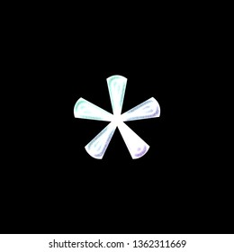 Colorful light glowing asterisk or star shape symbol in a 3D illustration with a bright teal green & purple color shine effect in a classic font on a black background with clipping path