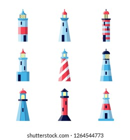 Colorful lighthouse icons set in flat style isolated on white background