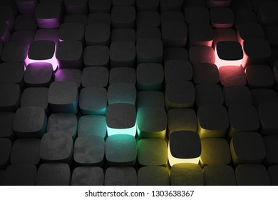 Colorful lights amidst black cubes, 3d render / rendering.