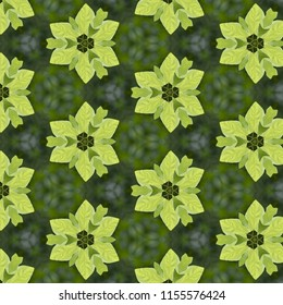 Colorful, lime green, dark green, shades of green symmetrical geometric pattern on green background with floral shapes. Abstract design, illustration for wallpaper, fabric, print, wrapping paper