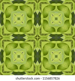 Colorful, lime green, dark green, symmetrical geometric pattern on green background. Abstract design, illustration for wallpaper, fabric, print, wrapping paper