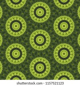 Colorful, lime green, dark green, symmetrical geometric pattern on green background with floral shapes. Abstract design, illustration for wallpaper, fabric, print, wrapping paper