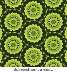 Colorful, lime green, dark green, symmetrical geometric pattern with floral shapes. Abstract design, illustration for wallpaper, fabric, print, wrapping paper