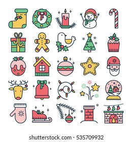 Colorful line icons with christmas symbols and objects. Thin line set for web design and application user interface. Useful for holidays infographics.
