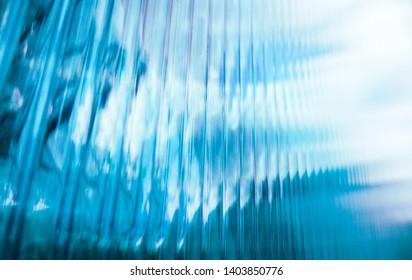 Colorful lines perspective blue polycarbonate texture.