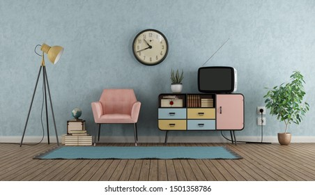 Colorful living room in vintage style with sideboard,armchair and tv - 3d rendering