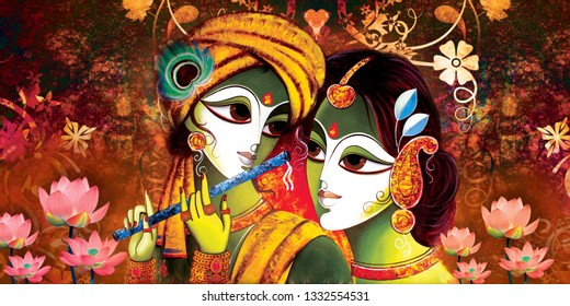 Colorful Lord Radha Krishna with flute decorative texture background canvas oil painting