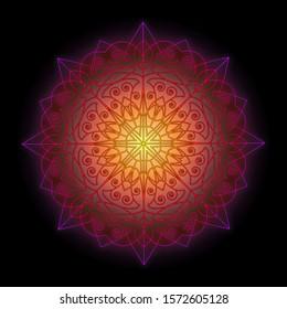 Colorful Mandala, bright energy with black background