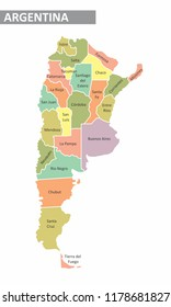 Colorful map of Argentina with identified provinces