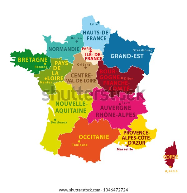 Map Of France New Regions.Colorful Map France New Regions Capitals Stock Illustration 1046472724