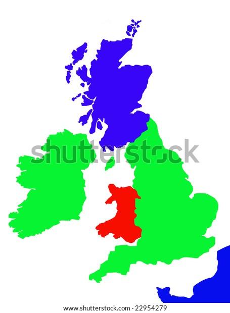Map Of Northern France Coastline.Colorful Map Showing Coastline United Kingdom Stock Illustration