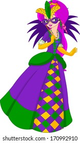Colorful Mardi Gras queen holding the mask. Raster version