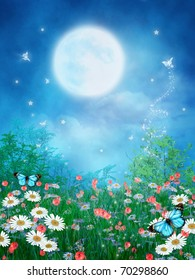 Colorful meadow with fantasy butterflies