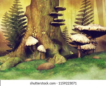Colorful meadow with a tree stump, fern leaves and mushrooms in the forest. 3D illustration.