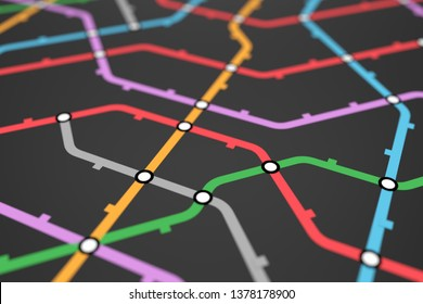 Colorful metro scheme, railway transport or city bus map on black background surface. Abstract 3D illustration