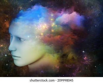 Colorful Mind series. Background design of human head and fractal colors on the subject of mind, dreams, thinking, consciousness and imagination