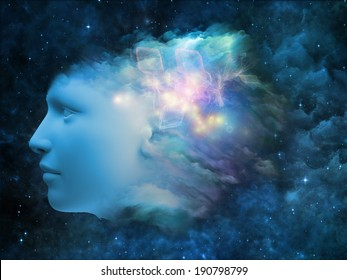 Colorful Mind series. Composition of  human head and fractal colors to serve as a supporting backdrop for projects on mind, dreams, thinking, consciousness and imagination