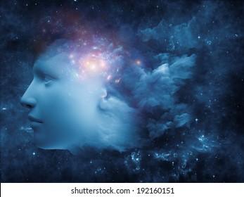 Colorful Mind series. Graphic composition of human head and fractal colors to serve as complimentary design for subject of mind, dreams, thinking, consciousness and imagination