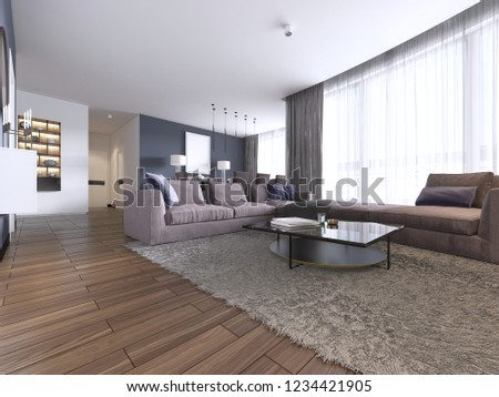 Colorful Modern Apartments Big Corner Sofa Stock Illustration ...