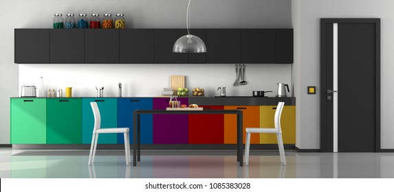 Colorful modern kitchen with dining table and chairs - 3d rendering