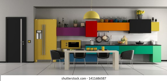 Colorful modern kitchen with white dining table ,black chairs and closed door - 3d rendering