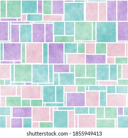 Colorful Mondrian Inspired Groovy Abstract Seamlessly Tiling Background