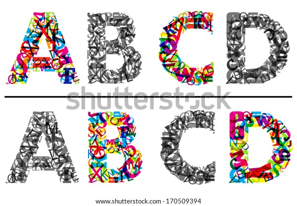 Colorful and monochrome alphabet letters A, B, c and D. Vector version also available in gallery