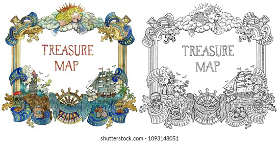 Colorful and monochrome nautical frames with marine and pirate symbols isolated on white. Pirate adventures, treasure hunt and old transportation concept. Hand drawn colorful illustration