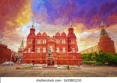 Colorful morning sky of The State Historical Museum of Russia located between Red Square and Manege Square a landmark in the heart of Moscow, Russia.- oil painting