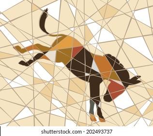 Colorful mosaic illustration of a kicking donkey