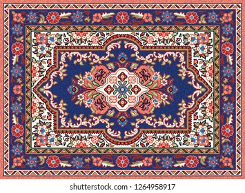 Colorful mosaic oriental rug with traditional geometric ornament, central medallion and floral motifs. Patterned carpet with a border frame. Cross stitch template.