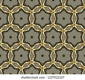 Colorful mosaic texture, Seamless  illustration for design seamless pattern with golden elements