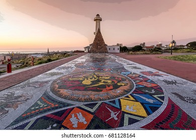 The colorful mosaics of the Donkin Reserve pyramid and lighthouse monument and public park in the Port Elizabeth city centre.
