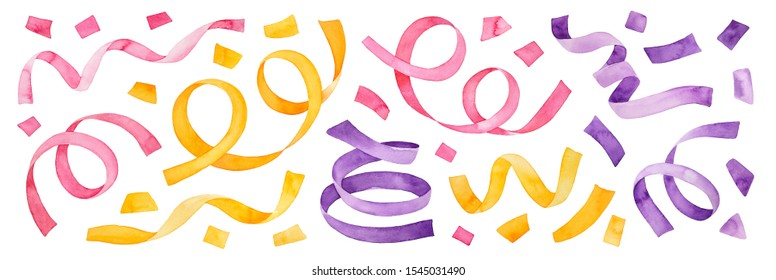 Colorful multicolored collection of confetti and party streamers. Pink, violet, gold yellow colors. Hand drawn watercolour paint on white background, isolated clipart elements for design decoration.