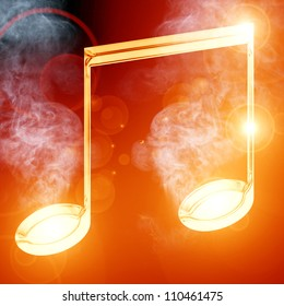 Colorful musical note on a soft dark background