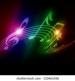 Colorful musical notes on a soft dark background