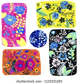 Colorful neon hand drawn floral elements