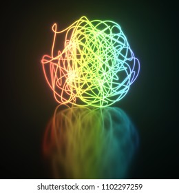 Colorful neon light tangle ball on reflective floor background. 3D rendering.