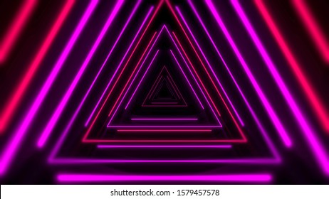 Colorful neon lines and triangles abstract background. Elegant and luxury dynamic club style 3D illustration